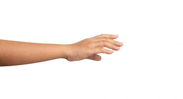 Prawa ręka kobiet wybierających coś na białym tle