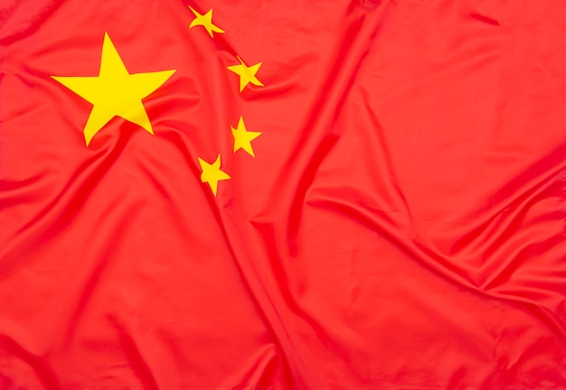 Prawdziwa naturalna tkanina flaga chin lub flaga narodowa chińskiej republiki ludowej jako tekstura lub tło