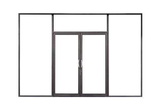 Prawdziwa nowoczesna czarna rama okienna z podwójnymi szklanymi drzwiami z przodu sklepu na białym tle