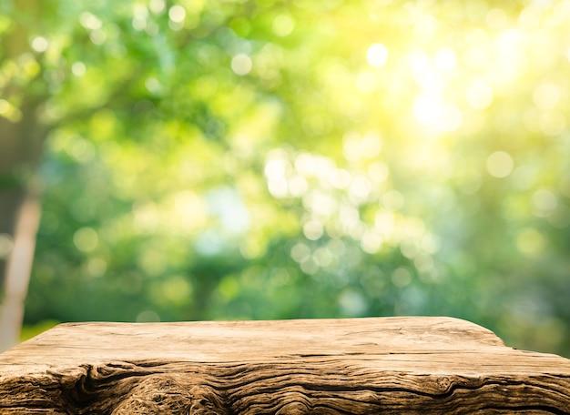 Prawdziwe drewno blatu tekstury na rozmycie liści drzewa ogród