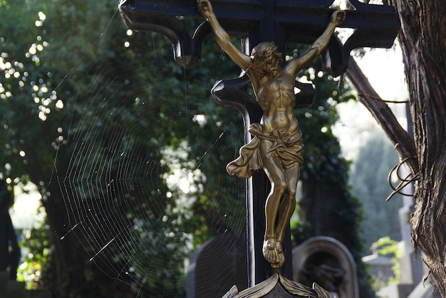 Prawdziwe krucyfiksy na cmentarzu