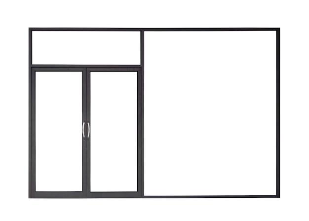 Prawdziwe nowoczesne czarne sklep przednie podwójne szklane drzwi rama okienna na białym tle