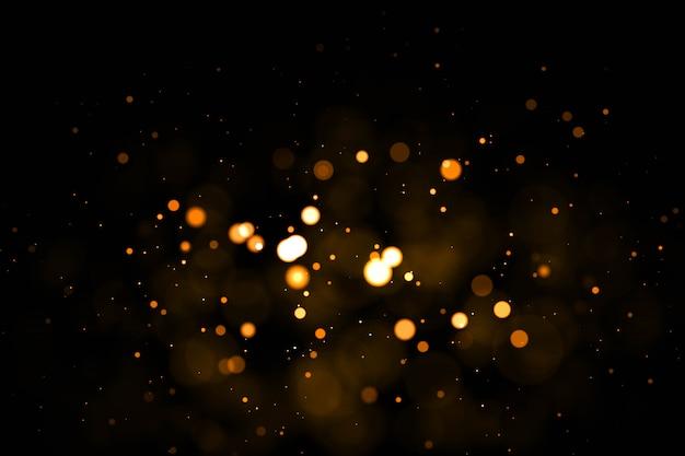 Prawdziwe podświetlane cząsteczki kurzu z prawdziwym rozbłyskiem obiektywu