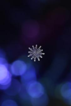 Prawdziwy śnieg śnieżynka na niebieskim tle bokeh
