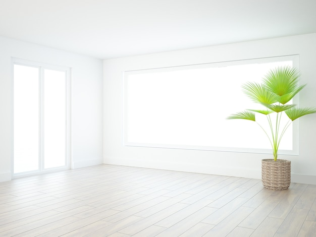 Prawie pusty biały pokój z dużym panoramicznym oknem palmowym i drewnianą podłogą