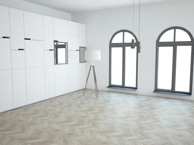 Prawie pusty, biały salon z drewnianą podłogą