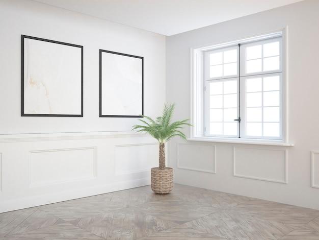 Prawie pusty pokój z klasycznym drewnianym oknem podłogowym i palmą