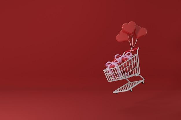 Premium image koncepcja walentynek koszyk pełen prezentów, latające balony miłosne renderowanie 3d
