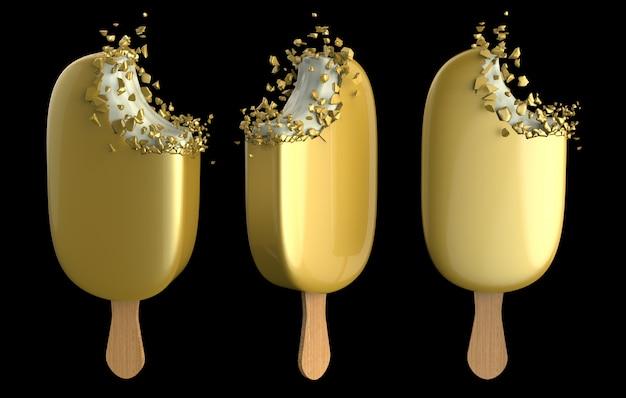Premium złote lody batonik gryzący reklamy komercyjne