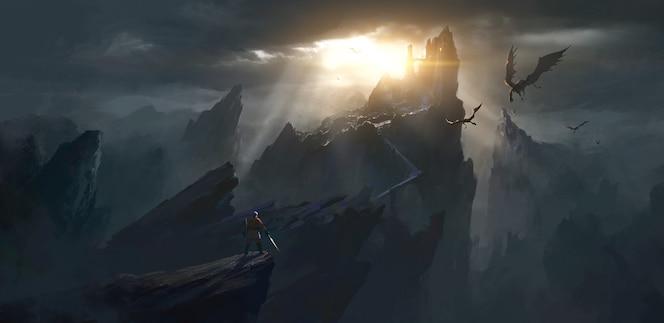 Pretendent stoi przed przerażającą ilustracją zamku.