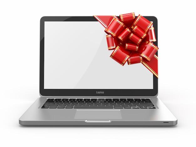 Prezent na laptopa. kokarda i wstążka na ekranie