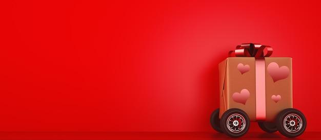 Prezent na walentynki z kołami jak szybki samochód. koncepcja szybkiej dostawy