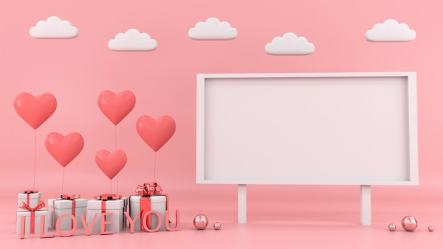 Prezenta pudełka tła kierowy unosi się karciany miłości miłości valentine pojęcia 3d rendering