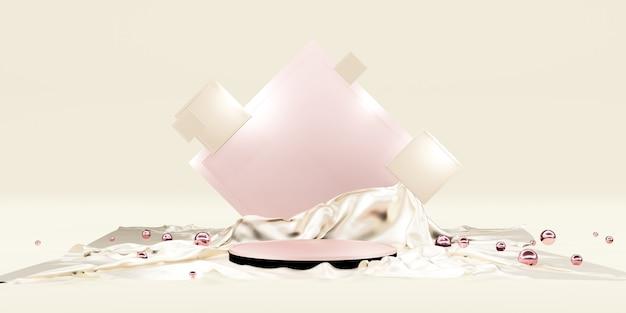 Prezentacja produktu i luksusowa błyszcząca tkanina pusta półka na podium lub podium galeria produktów 3d