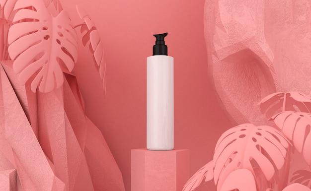 Prezentacja produktu kosmetycznego. puste opakowanie. renderowanie 3d