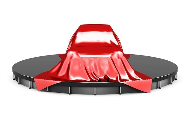 Prezentacja samochodu pokryta czerwoną satynową tkaniną. przedni widok. renderowanie 3d.