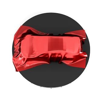 Prezentacja samochodu pokryta czerwoną satynową tkaniną. widok z góry. renderowanie 3d.