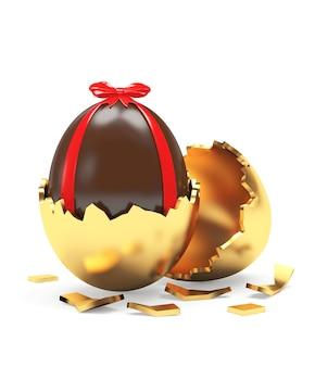 Prezentowe jajko czekoladowe w złamanej złotej skorupce