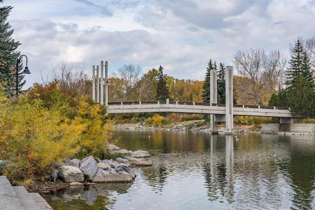Prince's island park jaipur bridge. jesienna sceneria liści w centrum miasta calgary, alberta, kanada.