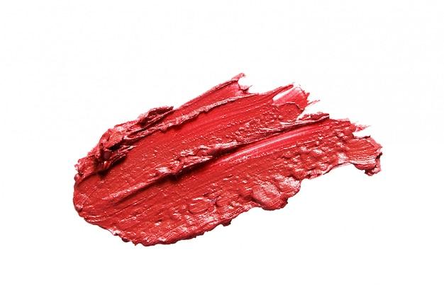 Próbka creme szminka rozmaz smużenia na białym tle