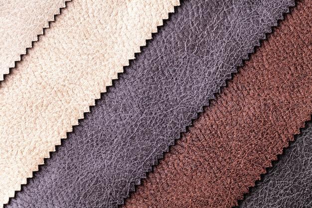 Próbka tkaniny welurowej i welurowej w różnych kolorach, tło