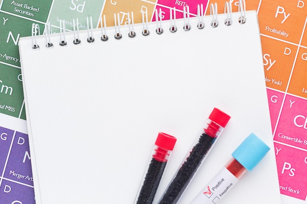 Próbki krwi na pustym notatniku