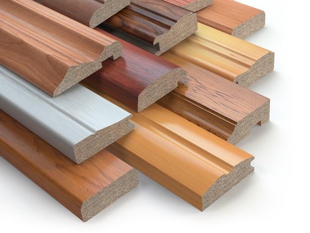 Próbki mebli drewnianych profili mdf, różne płyty pilśniowe średniej gęstości. ilustracja 3d