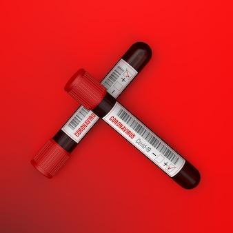 Probówka z próbką krwi na nowy test koronawirusa covid19 2019 znaleziony w wuhan w chinach