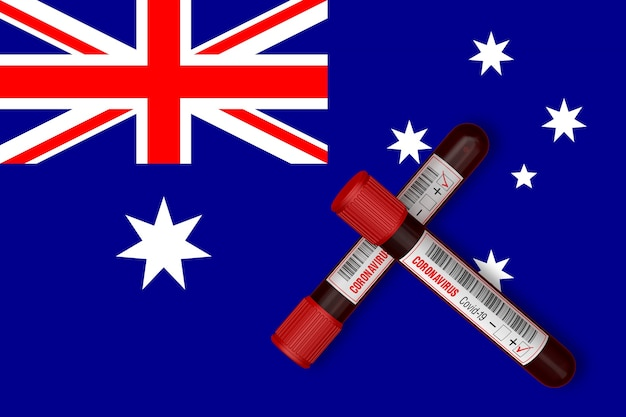Probówki z napisem 2019-ncov na tle flagi australii. renderowanie 3d