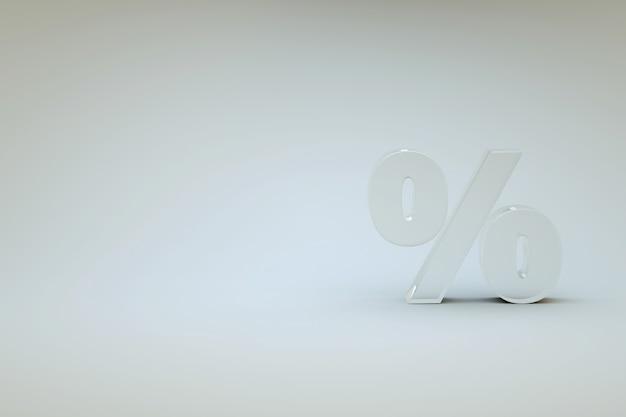 Procent 3d ikona na białym tle na białym tle. biała przezroczysta ikona procentu. ikona 3d, symbol. grafika 3d, ilustracja