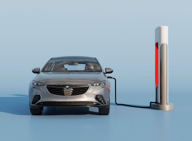 Proces ładowania samochodu elektrycznego 3d