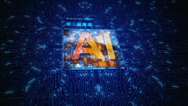 Procesor cpu płytki drukowanej uruchamia sztuczną inteligencję ai
