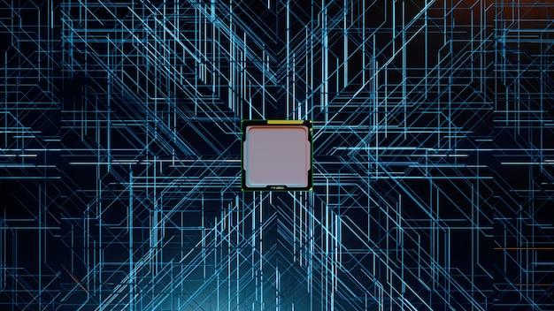 Procesor komputerowy z milionami połączeń i sygnałów. technologia cpu tło.