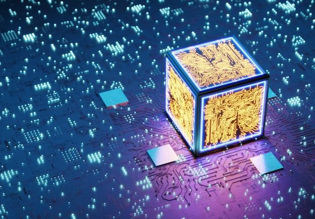 Procesor kwantowy. koncepcyjna jednostka centralna. trening sieci neuronowych. technologia blockchain. koncepcja ai (sztucznej inteligencji), renderowanie 3d, abstrakcyjny obraz wizualny. renderowane w 3d