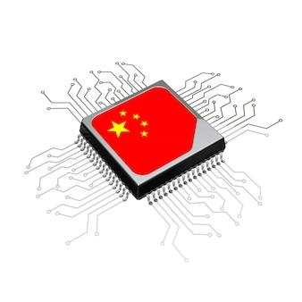 Procesor microchip cpu z flagą obwodu i chin na białym tle. renderowanie 3d
