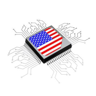 Procesor microchip cpu z obwodu i flagą usa na białym tle. renderowanie 3d