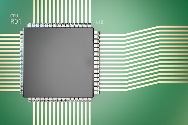 Procesor na płycie. zbliżenie