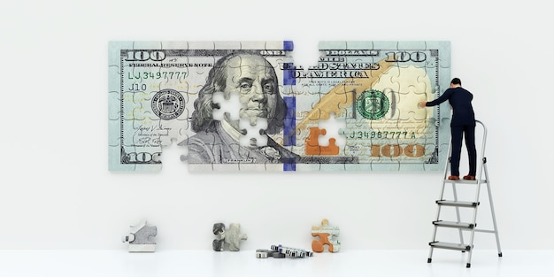 Producent pieniędzy. dolar łamigłówek. działalności człowieka tworzy pieniądze, renderowania 3d