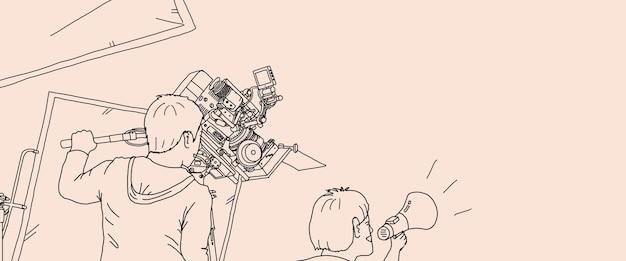 Produkcja wideo i konfiguracja aparatu do nagrywania filmów. za kulisami filmowania produkcji wideo online przy użyciu profesjonalnego sprzętu fotograficznego 8k i ekipy filmowej. styl rysowania ręcznego. ilustracje.