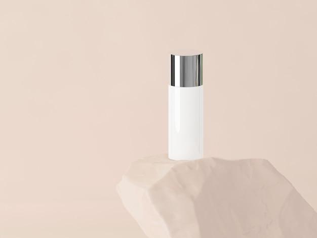 Produkt kosmetyczny na kamieniu z pastelowym brązowym tłem. renderowania 3d. minimalna koncepcja kosmetyczna
