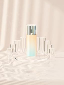 Produkt kosmetyczny na podium koła z pastelowym brązowym tłem. renderowania 3d. minimalna koncepcja kosmetyczna