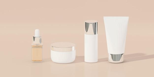 Produkty kosmetyczne na pastelowym brązowym tle. renderowania 3d. minimalna koncepcja kosmetyczna