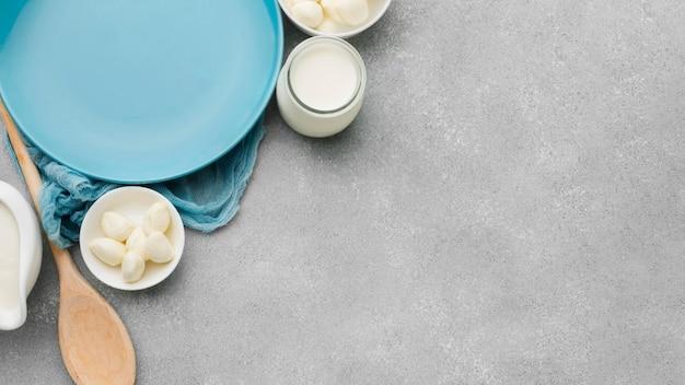Produkty mleczne widok z góry