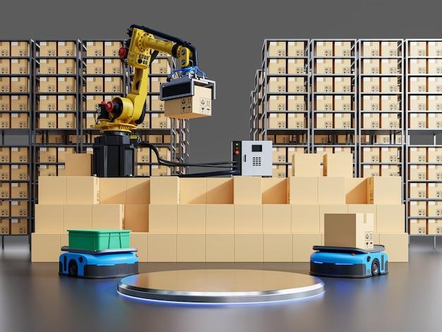Produkty na podium do symulacji systemu fabrycznego. renderowanie 3d