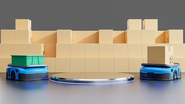 Produkty na podium do symulacji systemu fabrycznego