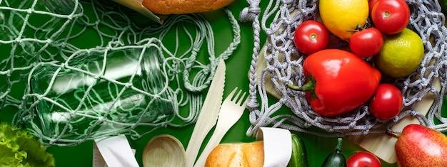 Produkty przyjazne dla środowiska z workami tekstylnymi, szklanymi słoikami i workami siatkowymi