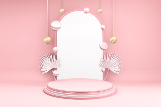 Produkty w tle 3d valentine podium w platformie miłości, valentine różowy podium minimalistyczny design
