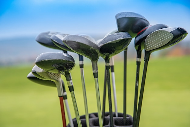 Profesjonalne kije golfowe w torbie na zielono