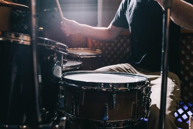 Profesjonalne zbliżenie zestawu perkusyjnego
