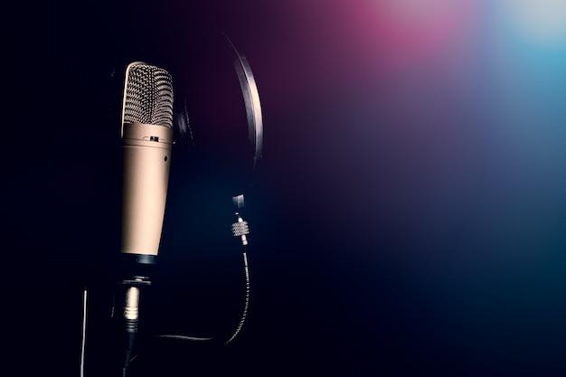 Profesjonalny mikrofon pojemnościowy z filtrem pop